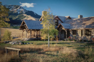 Traditional mountain home near Yellowstone National Park.
